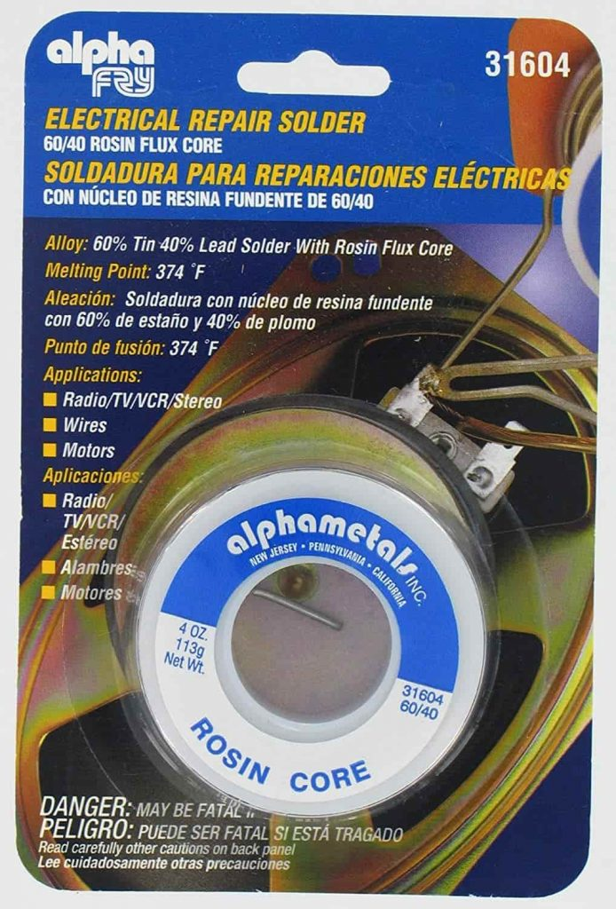 lead solder with Rosin flux core for electrical repair