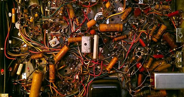 old circuit board with wires